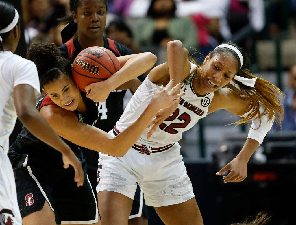 Stanford Cardinal forward Kaylee Johnson (5) takes possession of a loose ball in front of South Carolina Gamecocks forward A'ja Wilson (22) during the first half of NCAA Women's Final Four semifinal game at American Airlines Center in Dallas on Friday, March 31, 2017. (Vernon Bryant/The Dallas Morning News)