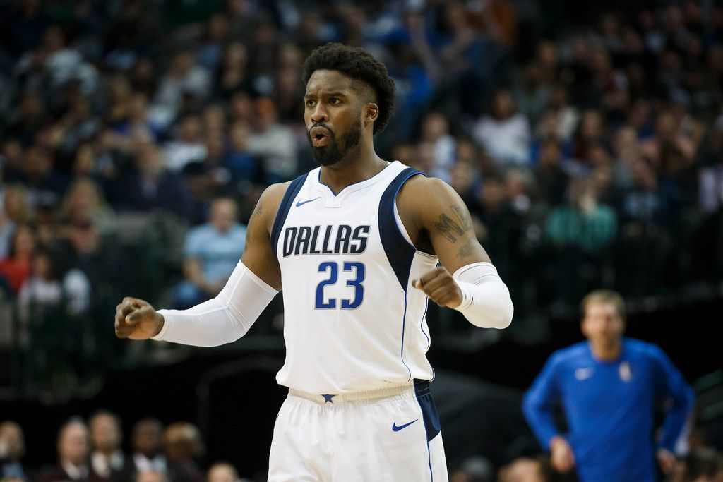 Dallas Mavericks guard Wesley Matthews reacts to a foul call during the first half of an NBA basketball game against the Brooklyn Nets at American Airlines Center on Wednesday, Nov. 29, 2017, in Dallas. (Smiley N. Pool/The Dallas Morning News)