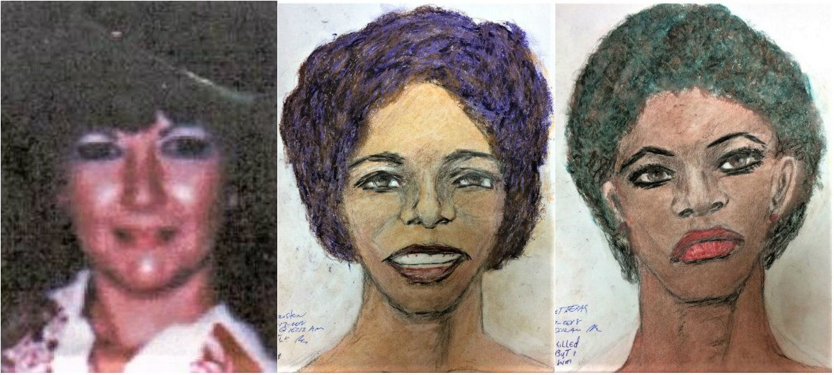 In July 2018, Samuel Little was indicted on a murder charge in the killing of Denise Christie Brothers (left), who disappeared in Odessa in 1994. She was found strangled about a month after her disappearance. Little told investigators that he killed two other women in Texas  — one (center, in an FBI-released sketch by Little) in Houston, the other (right, in another sketch by Little) whose body he said he dumped outside Wichita Falls..