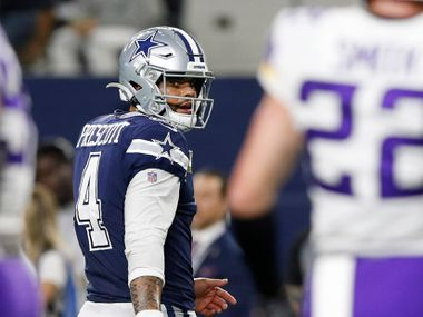Dallas Cowboys quarterback Dak Prescott (4) and Minnesota Vikings outside linebacker Anthony Barr (55) share words after the Cowboys were stopped on third down during the second half of play at AT&T Stadium in Arlington, Texas on Sunday, November 10, 2019. The Minnesota Vikings defeated the Dallas Cowboys 28-24. (Vernon Bryant/The Dallas Morning News)