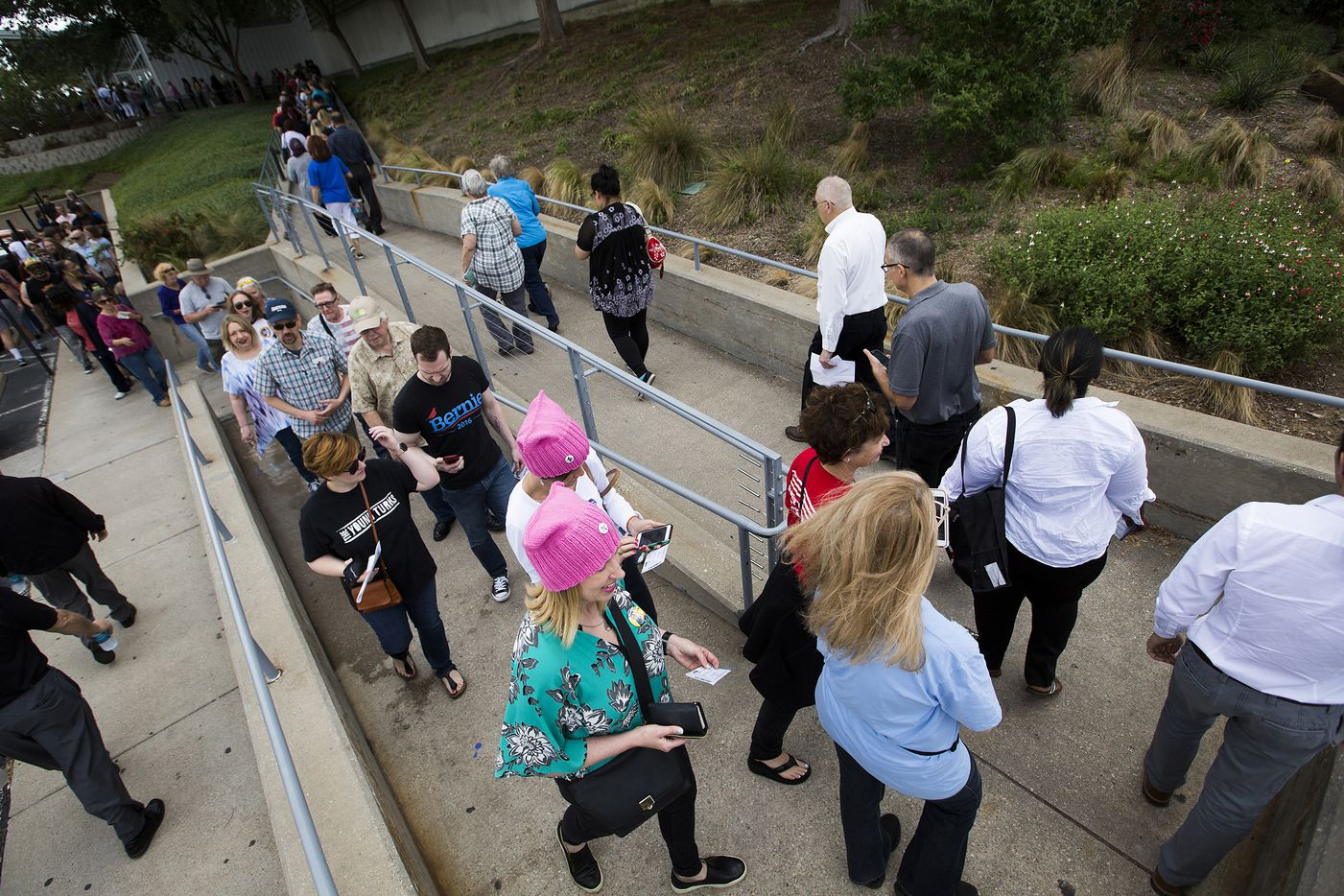 Supporters wait in line for the doors to open for a rally by Vermont senator Bernie Sanders rally at the Verizon Theater on Thursday, April 20, 2017, in Grand Prairie, Texas. Sanders, the runner-up in the 2016 Democratic contest for president, appeared in North Texas to rally residents against President Donald Trump's agenda.