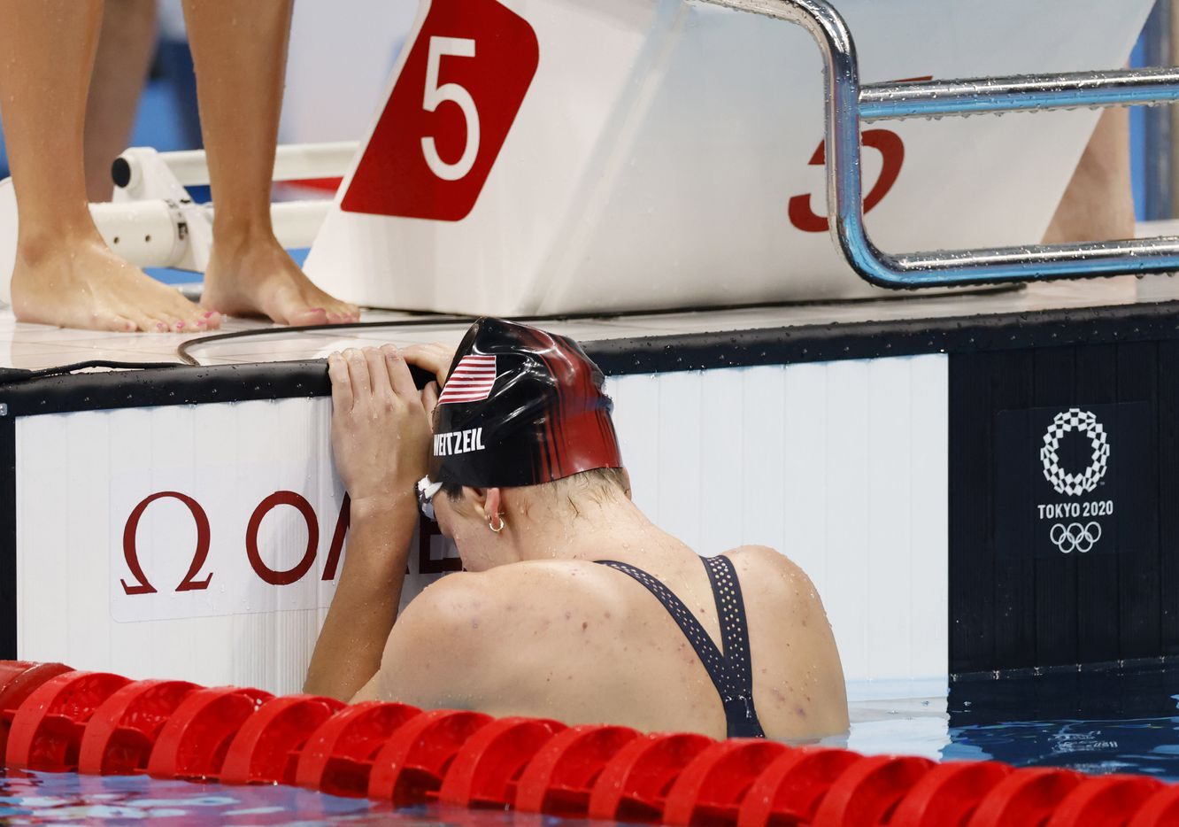 USA's Abbey Weitzeil after she finished the last leg of the women's 4x100 medley relay during the postponed 2020 Tokyo Olympics at Tokyo Aquatics Centre, on Sunday, August 1, 2021, in Tokyo, Japan. USA finished in second with a time of 3:51.60 to earn a silver medal. (Vernon Bryant/The Dallas Morning News)