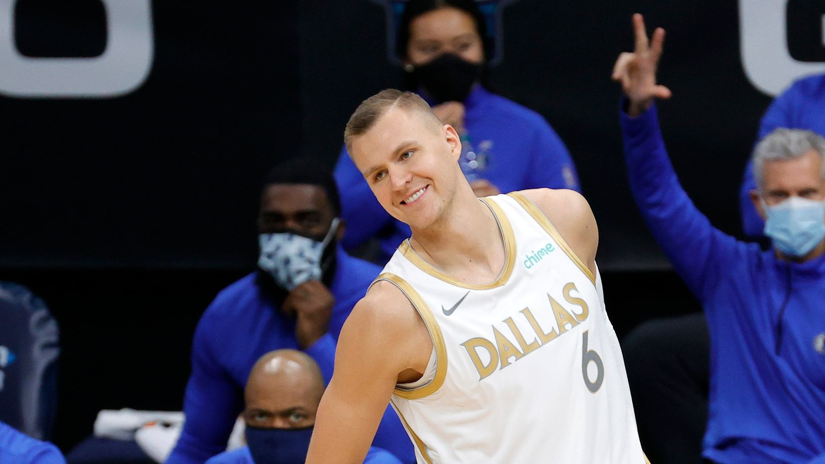 Kristaps Porzingis #6 of the Dallas Mavericks reacts following a three point basket during the third quarter of their game against the Charlotte Hornets at Spectrum Center on January 13, 2021 in Charlotte, North Carolina.