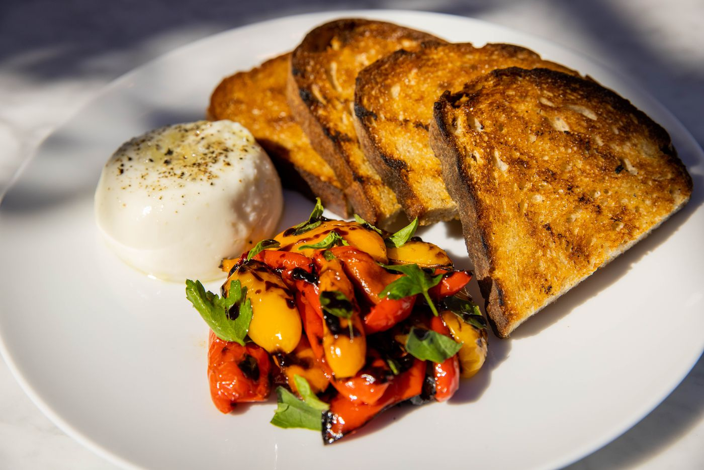 The Burrata with red peppers