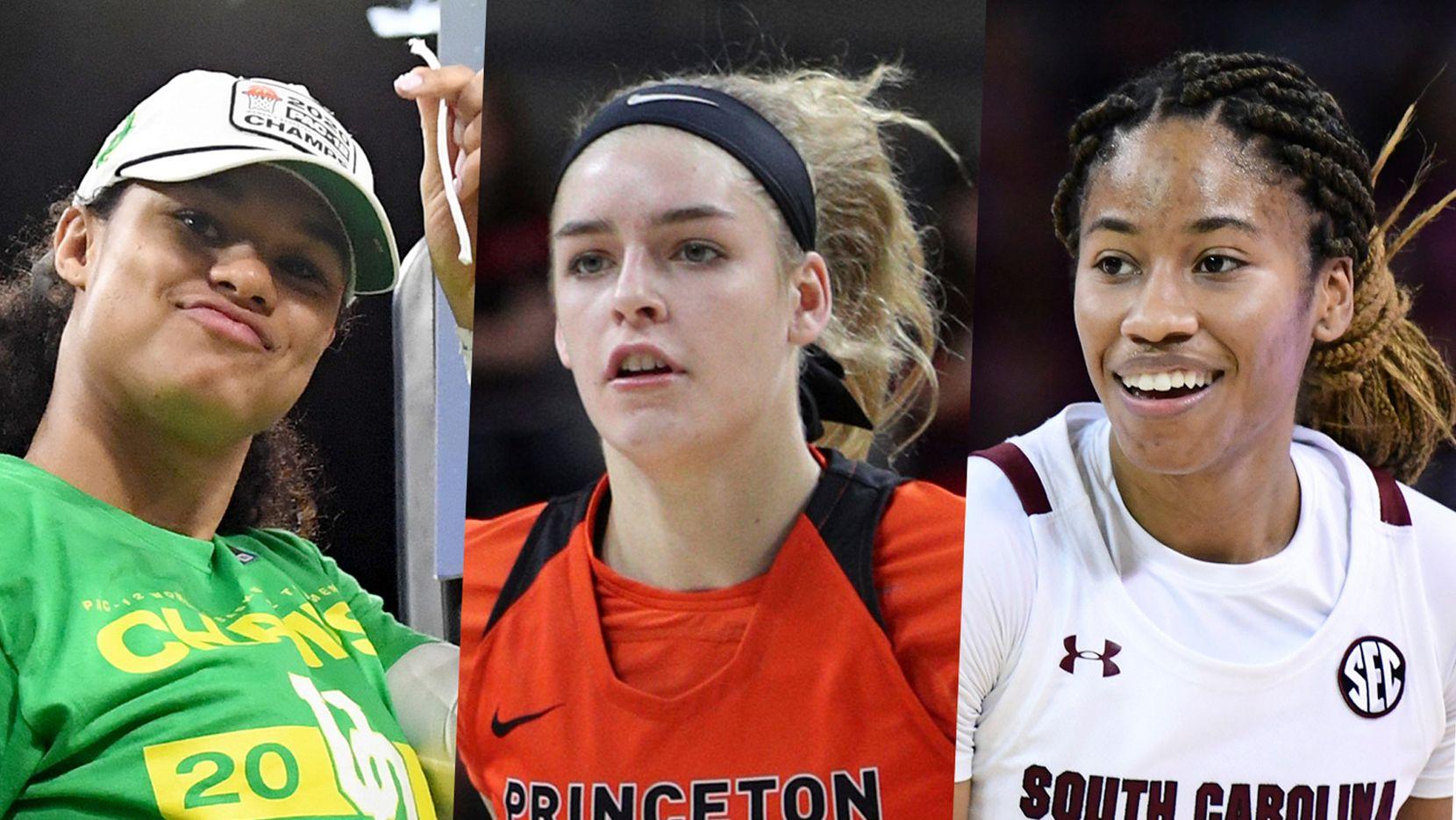 The Dallas Wings had three first-round picks in the 2020 WNBA draft. From left to right: Oregon forward Satou Sabally, Princeton guard/forward Bella Alarie and South Carolina guard Tyasha Harris.