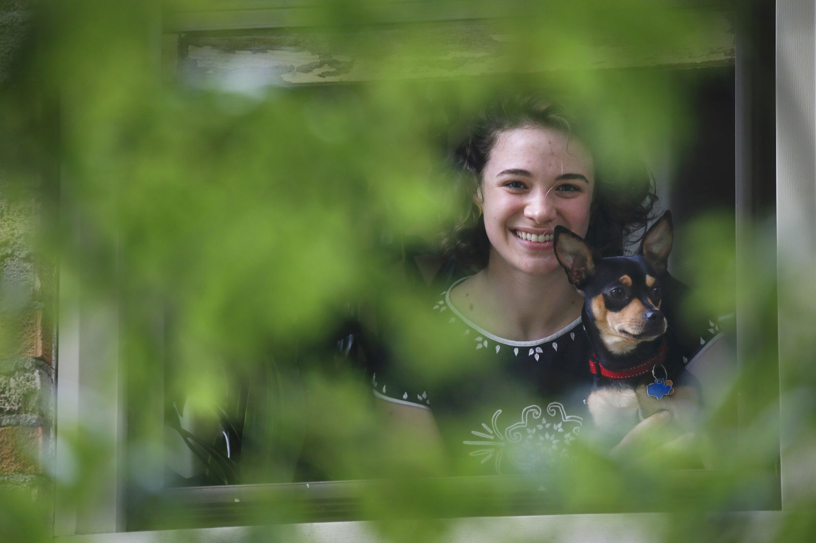 Erinn Sensenig poses for a photograph with her dog Ollie in the window of her Dallas apartment, her base for teaching remotely during the COVID-19 pandemic. Sensenig is a soprano who instructs a range of vocal students.
