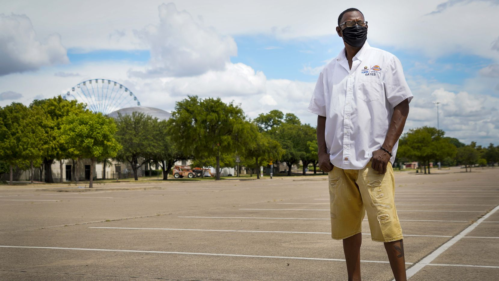 Perry Eakles, a seasonal parking attendant at the State Fair of Texas, photographed in lot 5 at Fair Park on Tuesday, July 21, 2020, in Dallas. (Smiley N. Pool/The Dallas Morning News)