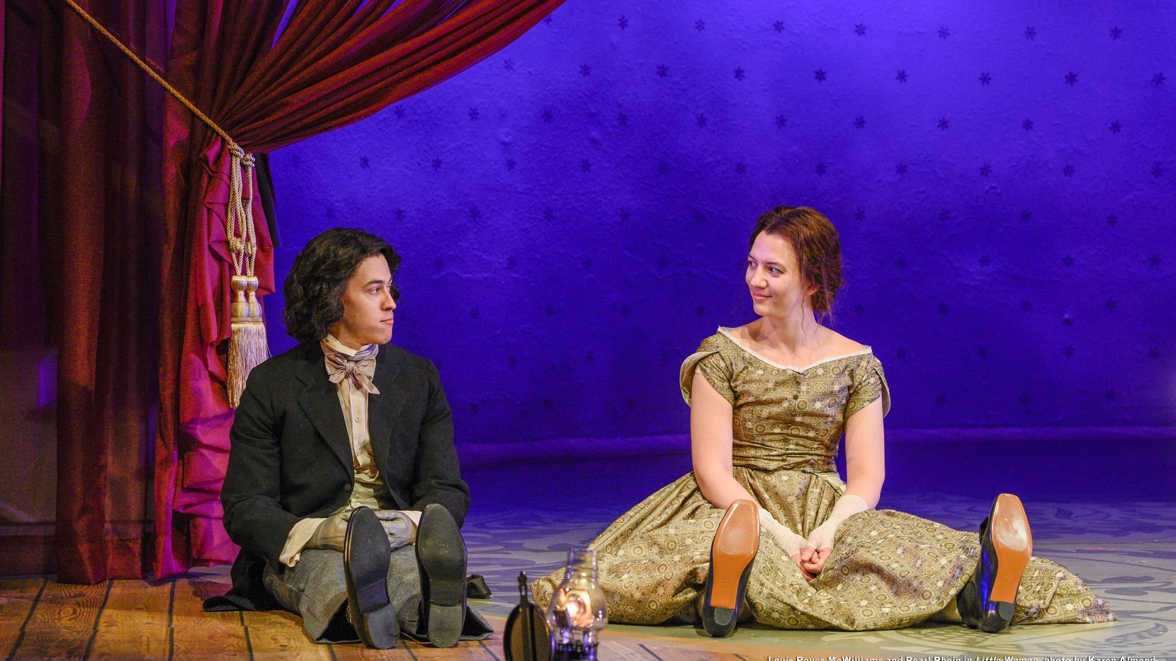 "Louis Reyes McWilliams as Laurie and Pearl Rhein as Jo in Dallas Theater Center's production of ""Little Women."" The feminist adaptation of Louisa May Alcott's classic 19th century novel by Kate Hamill runs through March 1 at the Kalita Humphreys Theater."