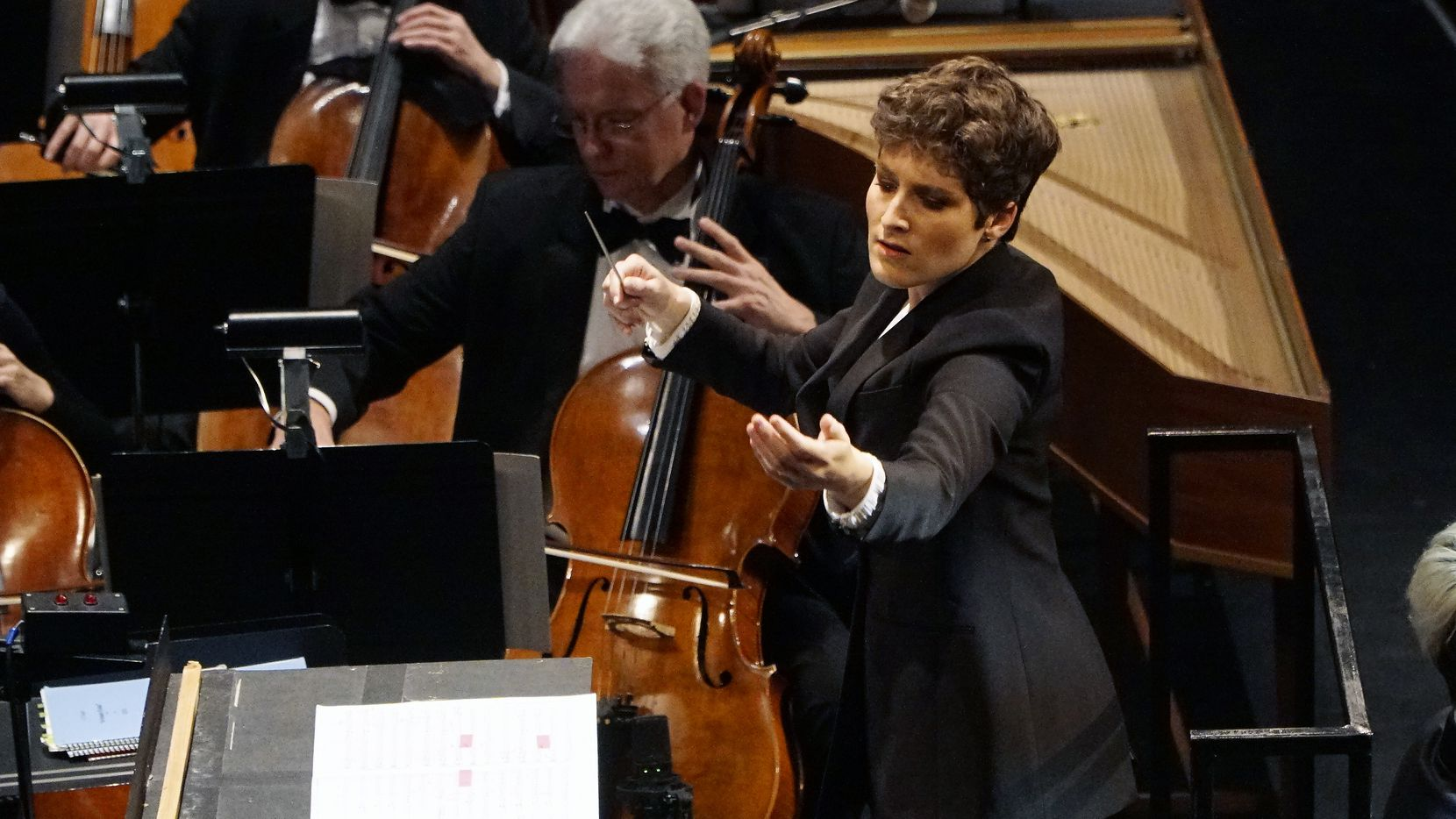 Tamara Dworetz conducts the Dallas Symphony Orchestra during the Hart Institute for Women Conductors showcase concert at the Winspear Opera House on Nov. 9, 2019.