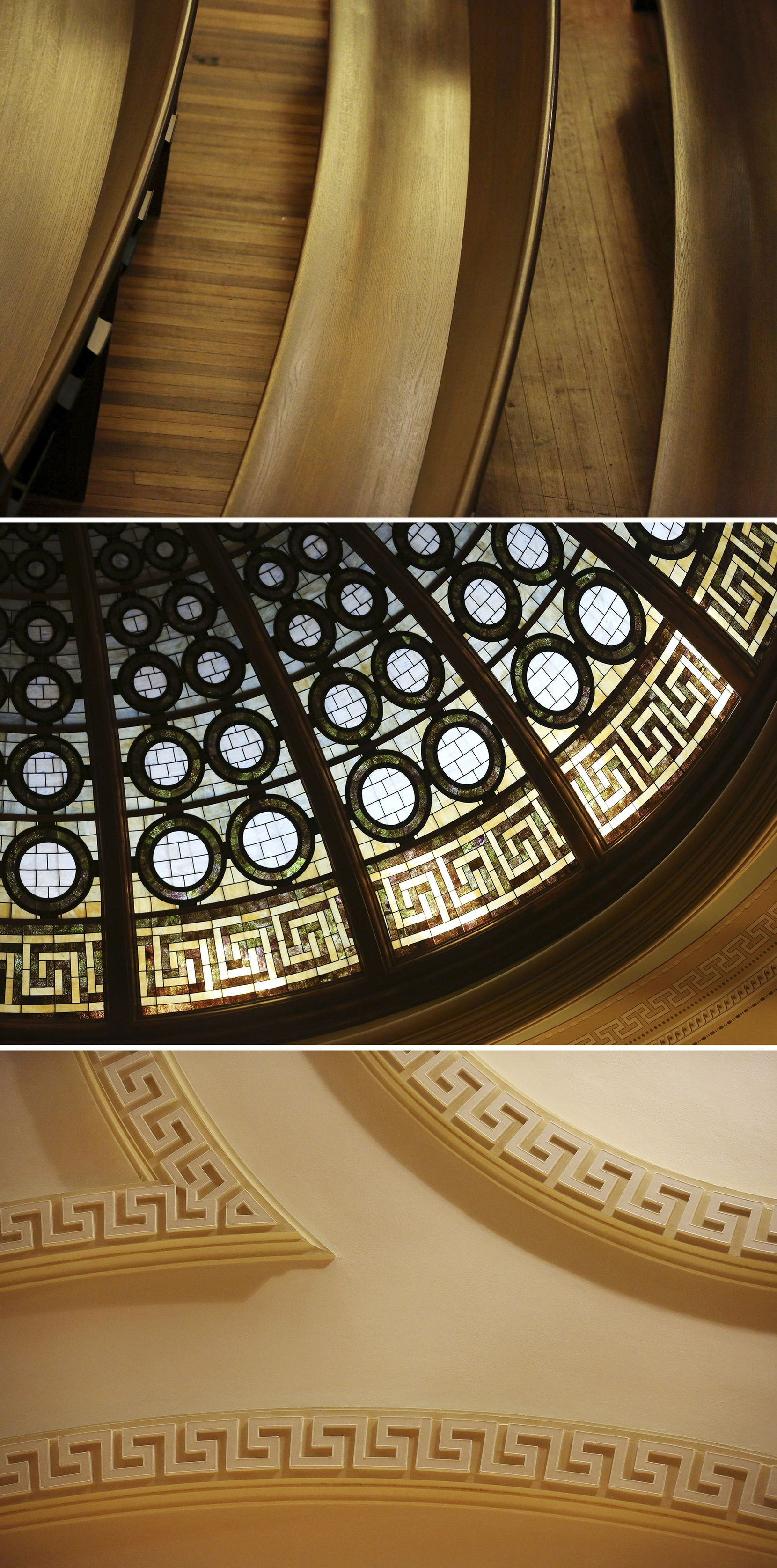 Details within the sanctuary include (from top) the new wooden pews, stained glass in the dome and ornate moldings on the ceiling.