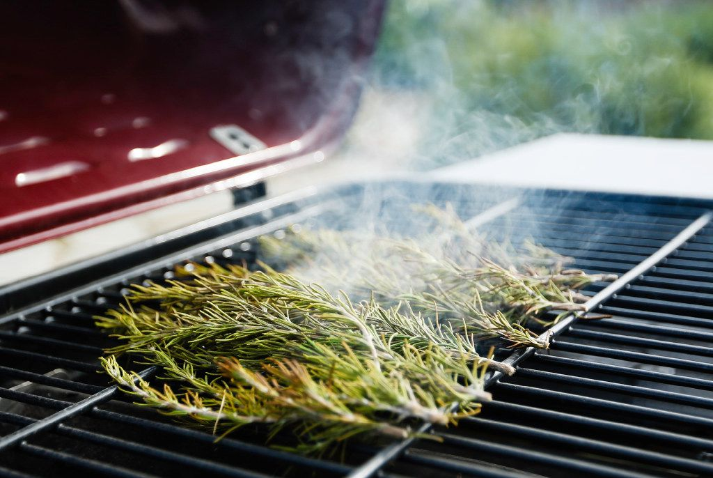 Burning rosemary on the grill releases its mosquito-repelling oils.