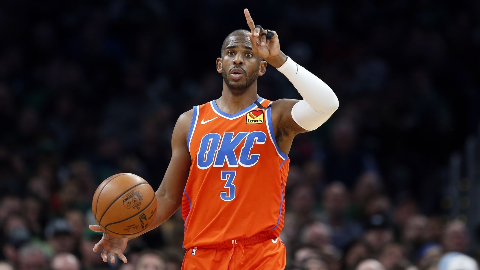 FILE - In this March 8, 2020 photo, the Oklahoma City Thunder's Chris Paul plays against the Celtics during a game in Boston.