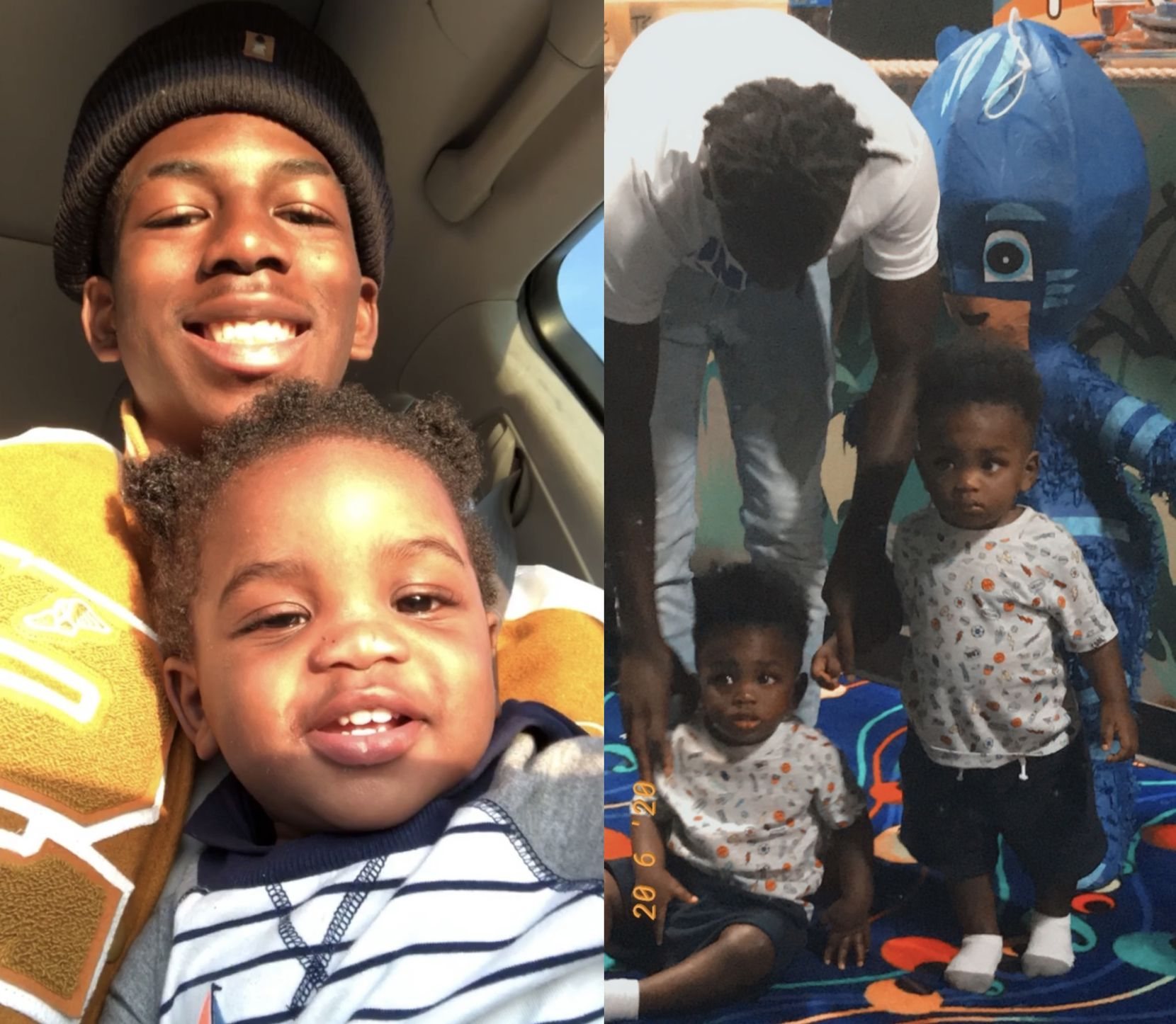 Senior South Oak Cliff football player Justyn Harrison is pictured with his identical twin sons, Jayce and Justyn Jr. (Courtesy/Tandra Rogers)