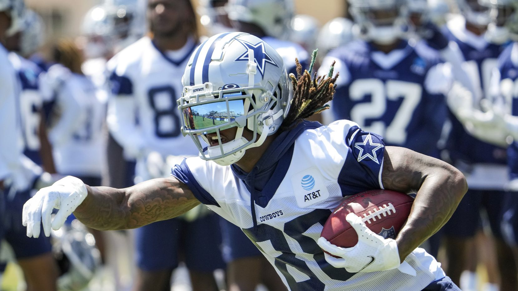 Dallas Cowboys wide receiver CeeDee Lamb (88) participates in a drill during the first practice of the team's training camp on Thursday, July 22, 2021, in Oxnard, Calif.