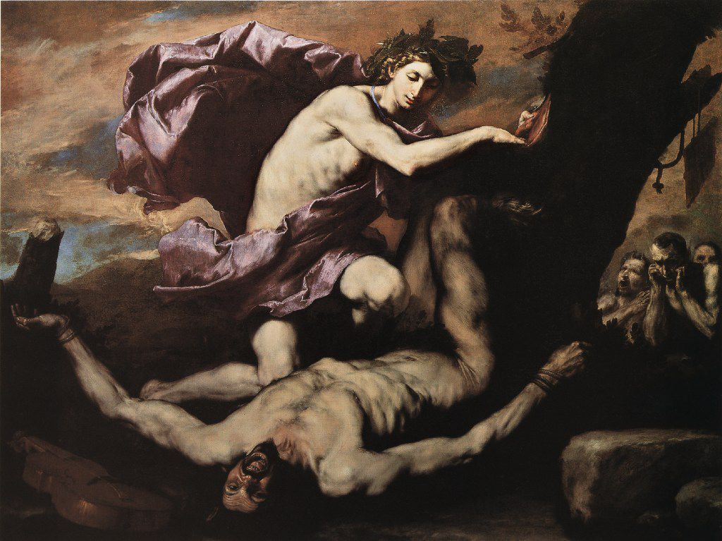 Jusepe de Ribera (Spanish, 1591-1652), Apollo and Marsyas, 1637. Oil on canvas. Naples, Museo Nazionale di Capodimonte, Quintavalle, 511.  Between Heaven and Hell: The Drawings of Jusepe de Ribera March 12 Ð June 11, 2017