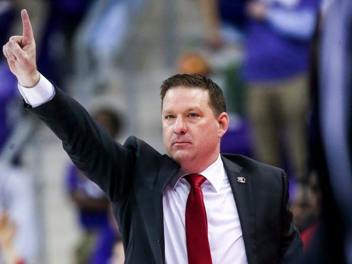 Texas Tech Red Raiders head coach Chris Beard calls a play during an NCAA basketball game at Schollmaier Arena Fort Worth, Texas on Saturday, March 2, 2019. (Shaban Athuman/The Dallas Morning News)