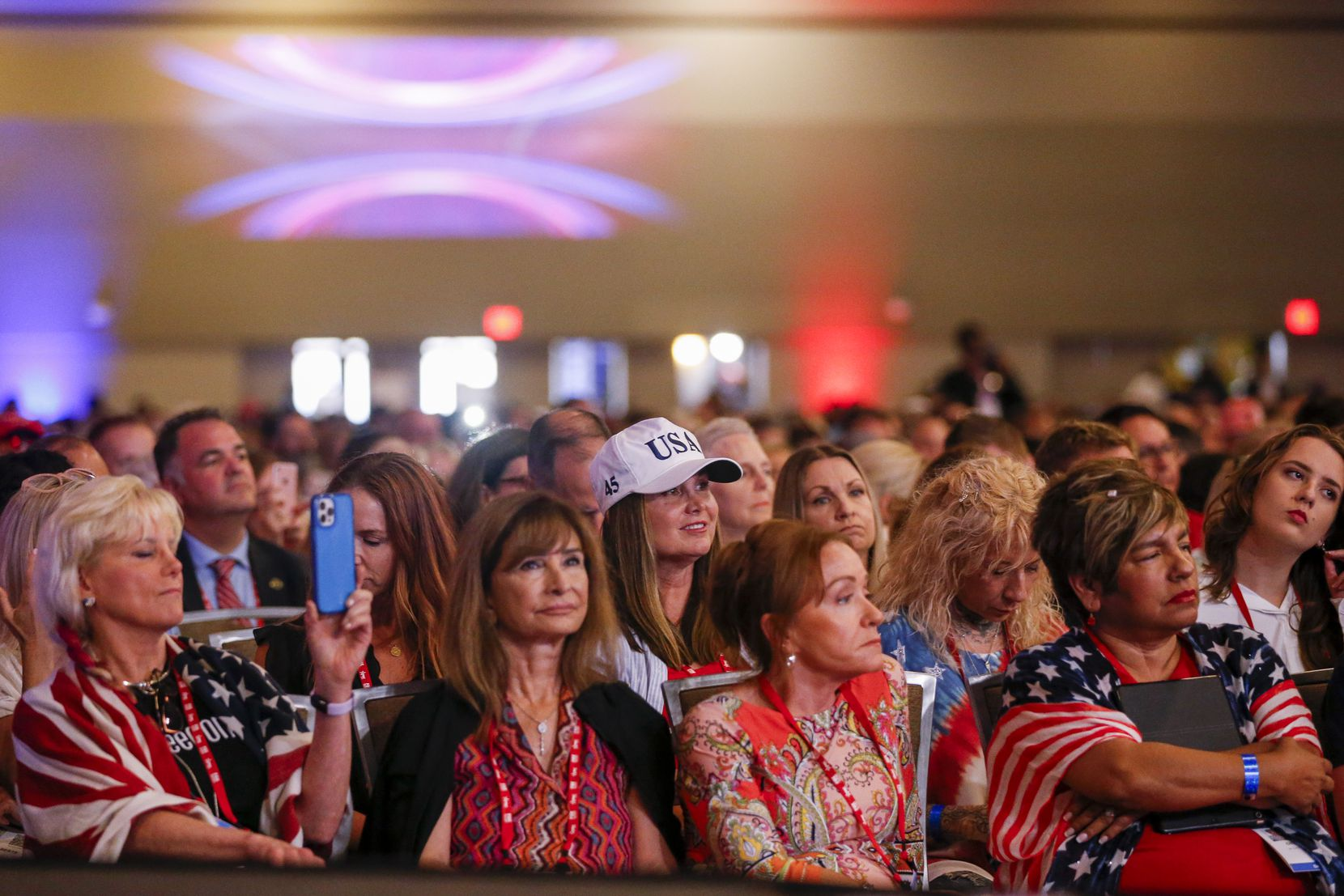 Attendees listen to remarks from Donald Trump Jr. at the Conservative Political Action Conference on Friday, July 9, 2021, in Dallas. (Elias Valverde II/The Dallas Morning News)