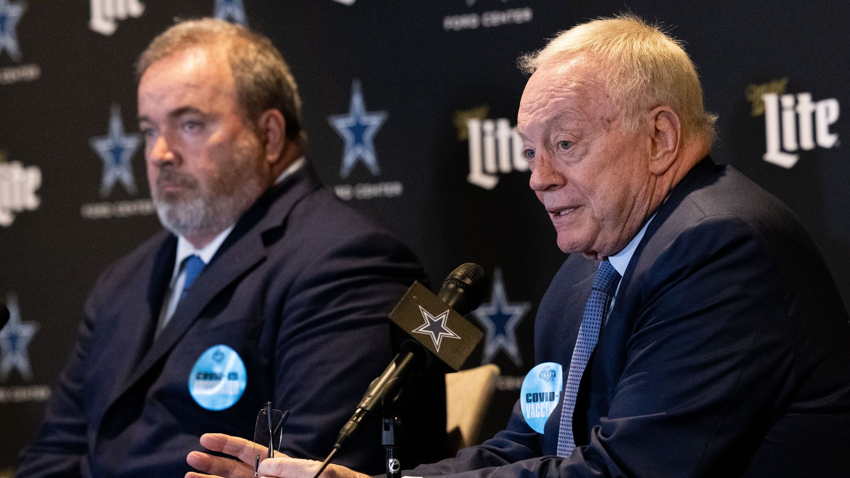 (From left) Coach Mike McCarthy and Dallas Cowboys owner Jerry Jones speak at a press conference following their decision to take Micah Parsons during the NFL draft at the Star on Thursday, April 29, 2021, in Frisco.