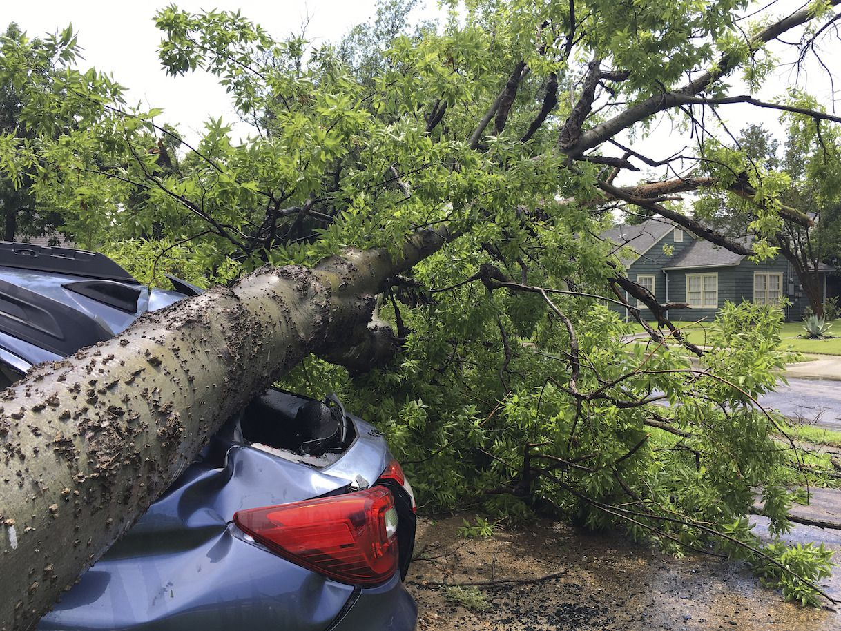 Un árbol caído sobre un vehículo y una vivienda en el área de N. Henderson y 75/Central Expressway en Dallas. (Michael Hamtil/The Dallas Morning News via AP)