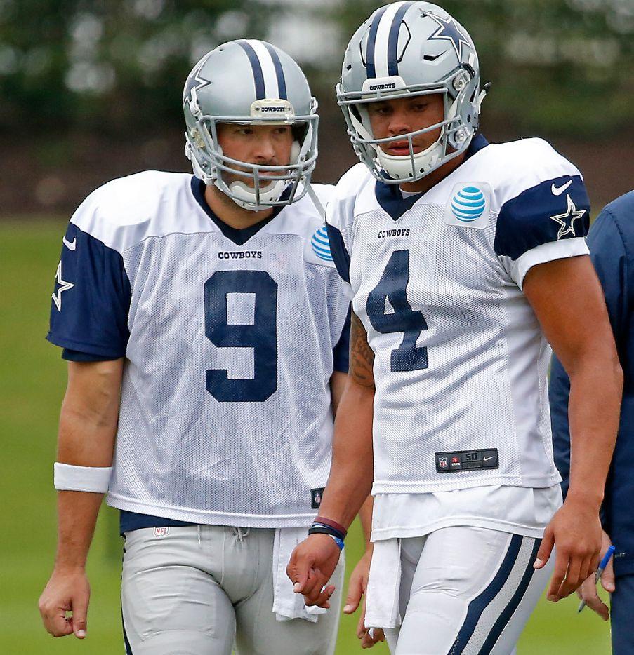 Dallas Cowboys quarterbacks Dak Prescott (4) and Tony Romo (9) practice at Ford Center at The Star in Frisco, Texas, Wednesday, Nov. 9, 2016. (Jae S. Lee/The Dallas Morning News)