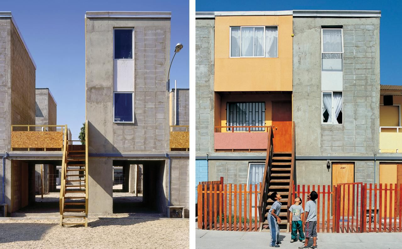 Alejandro Aravena's Quinta Monroy development in the remote city of Iquique,Chile, is composed of a group of 93 concrete townhouses that were effectively half built, allowing residents to move into a basic structure that they could then customize. Left: Half of a house financed with public money. Right: A middle-class standard achieved by the residents themselves.