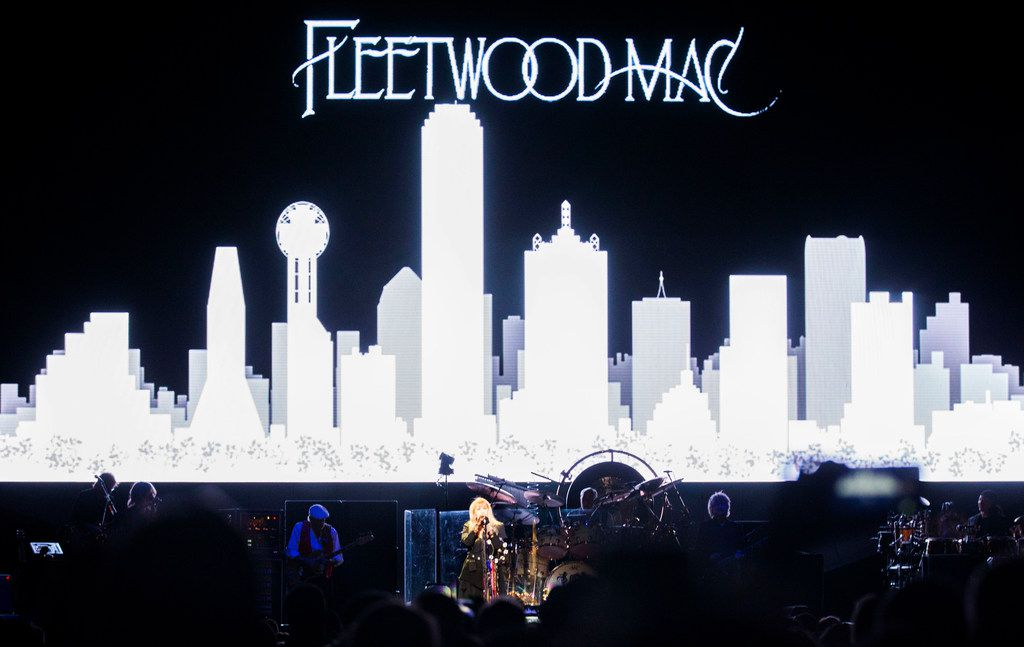 """Fleetwood Mac singer Stevie Nicks talks to the audience between songs """"The Chain"""" and """"Little Lies"""" at the American Airlines Center in Dallas on Feb. 7, 2019."""