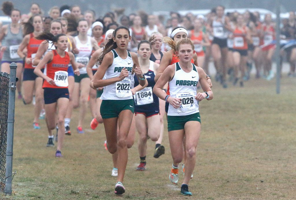 Prosper High School's Sadie Gonzales (2022) and Aubrey O'Connell (2026) led the pack for a portion of the girls 6A division at the Region II Cross County meet held at the Jesse Owns Memorial Complex in Dallas on Monday, October 28, 2019.
