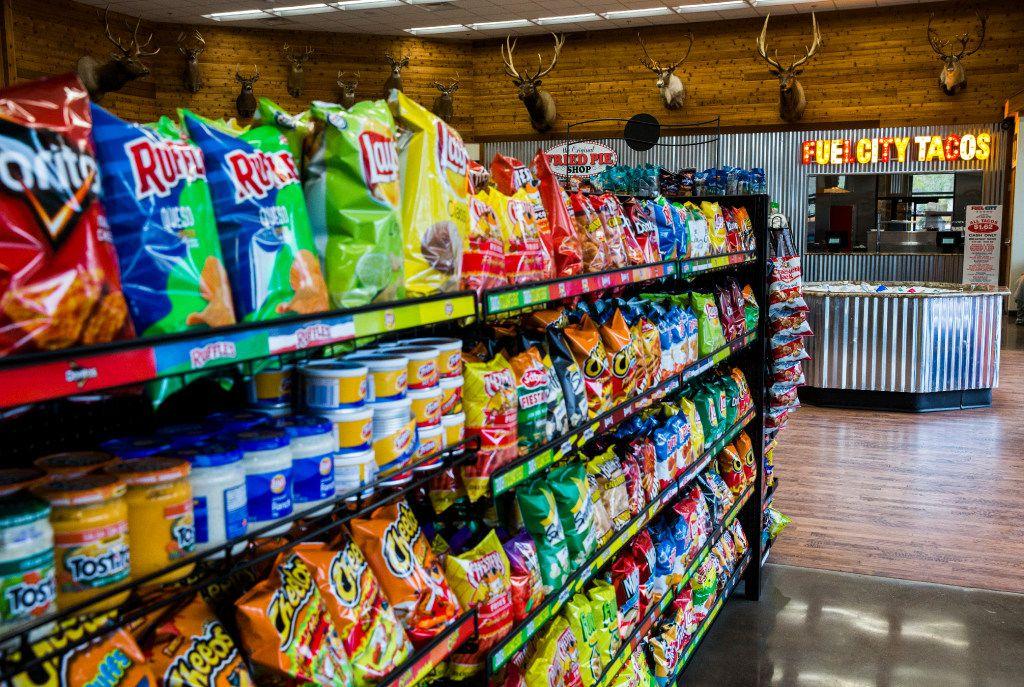 Snacks on a shelf at a new Fuel City location on Friday, December 16, 2016 on Haltom Road in Haltom City. (Ashley Landis/The Dallas Morning News)