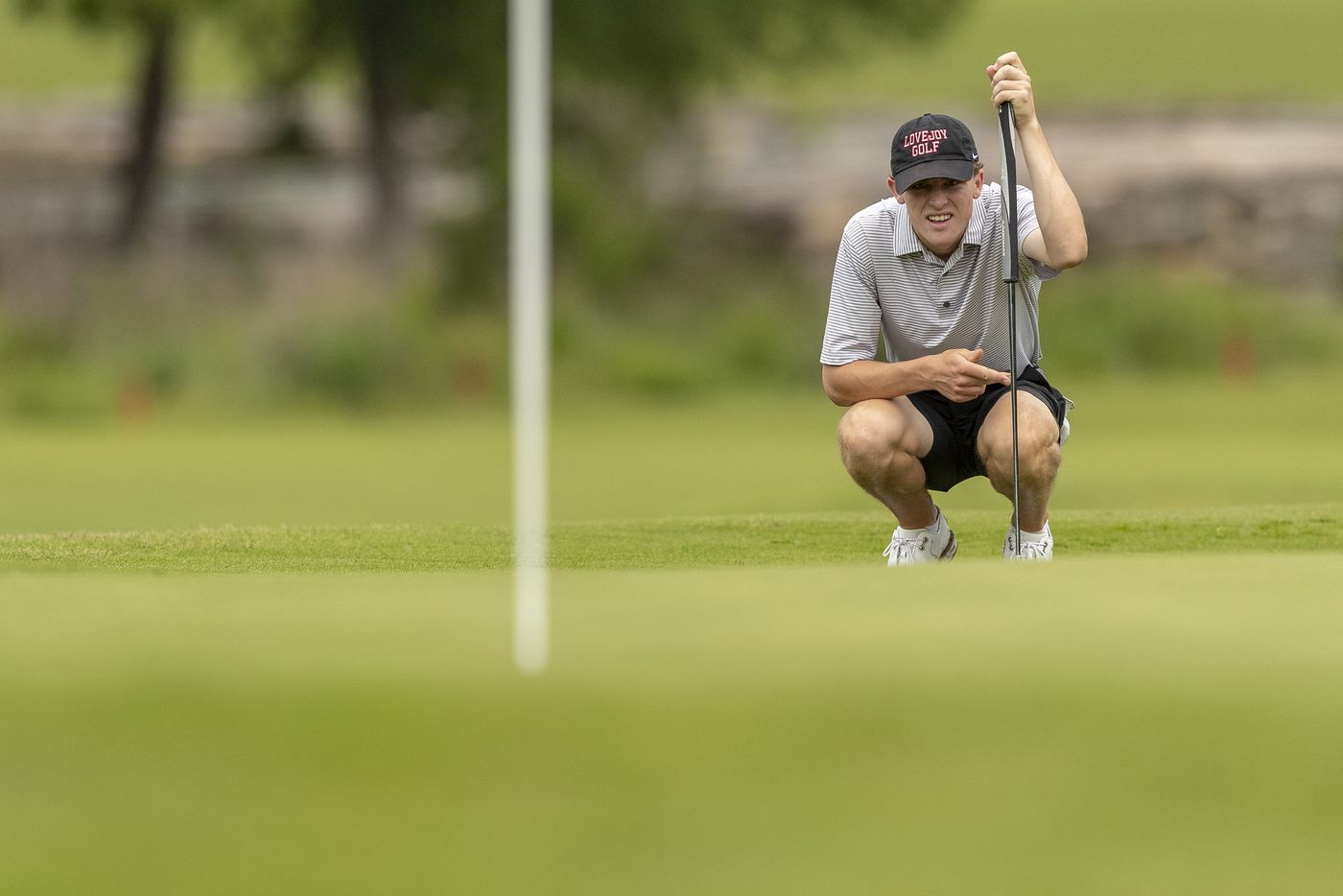 Lucas LovejoyÕs Jay Pabin studies his shot on the 9th green during round 1 of the UIL Class 5A boys golf tournament in Georgetown, Monday, May 17, 2021. (Stephen Spillman/Special Contributor)