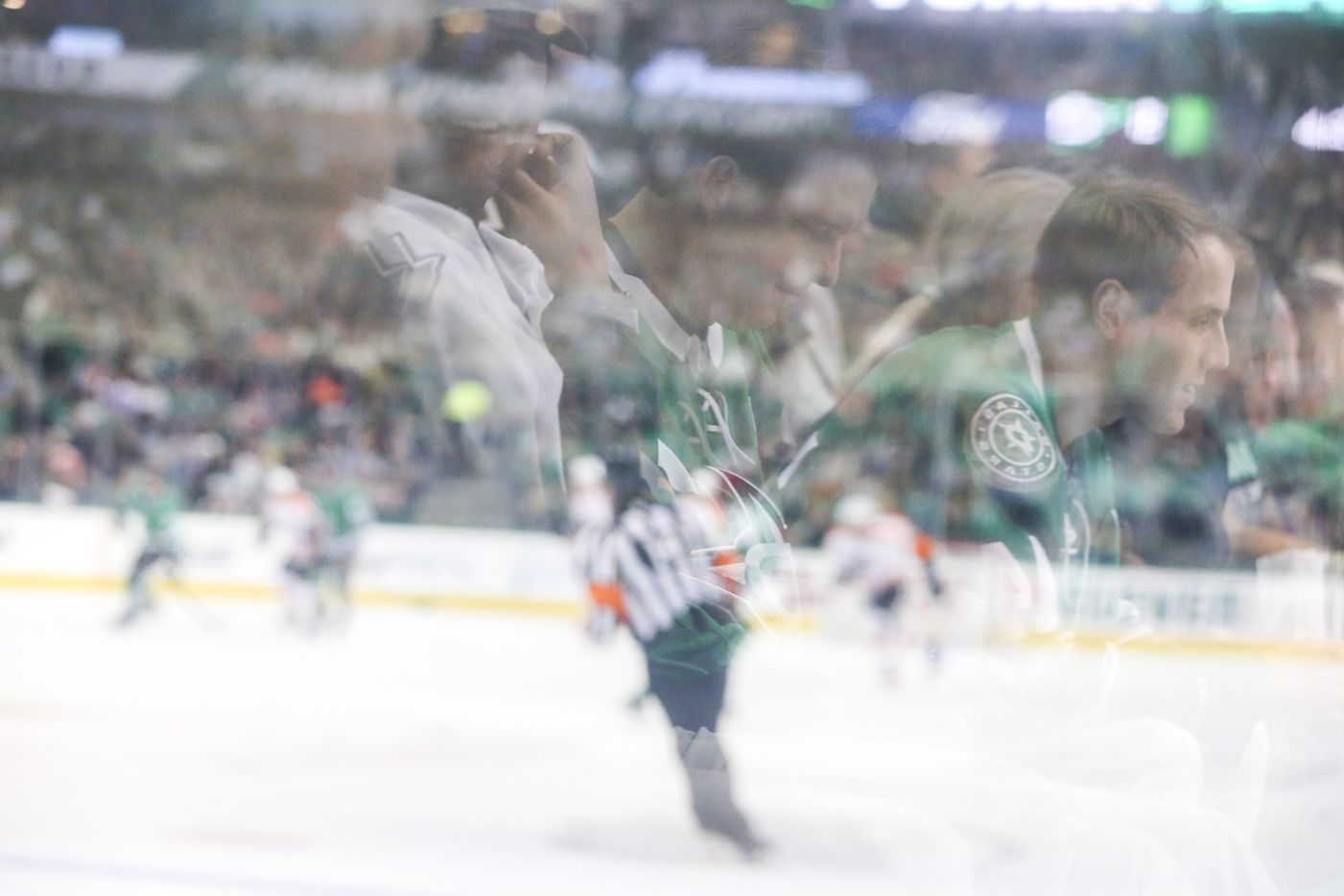 Stars fan Jeffrey Brown watches as the Stars take on the the Philadelphia Flyers during the second period of an NHL hockey game at American Airlines Center in Dallas on Tuesday, April 2, 2019.