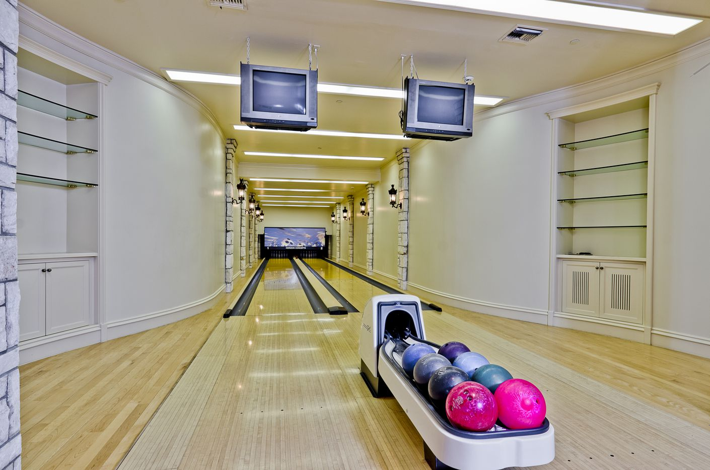 The bowling alley in the Champ D'Or mansion.