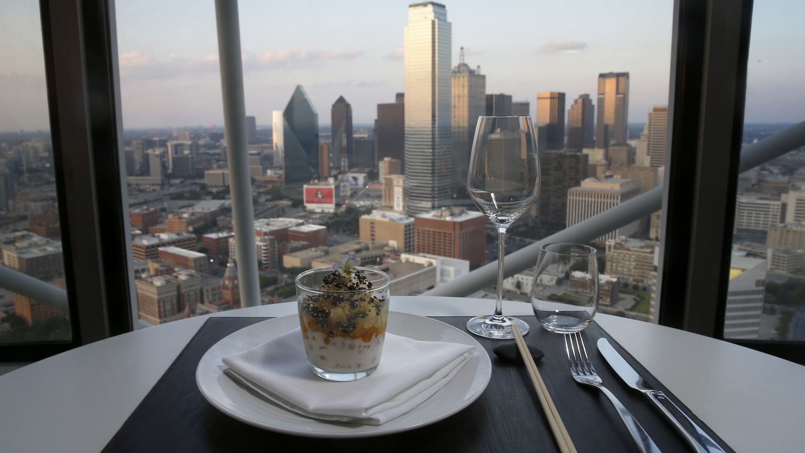 A desert of halo halo with a Dallas skyline in the background at Five Sixty by Wolfgang Puck in Dallas, Sunday, Sept. 4, 2016. (Jae S. Lee/The Dallas Morning News)