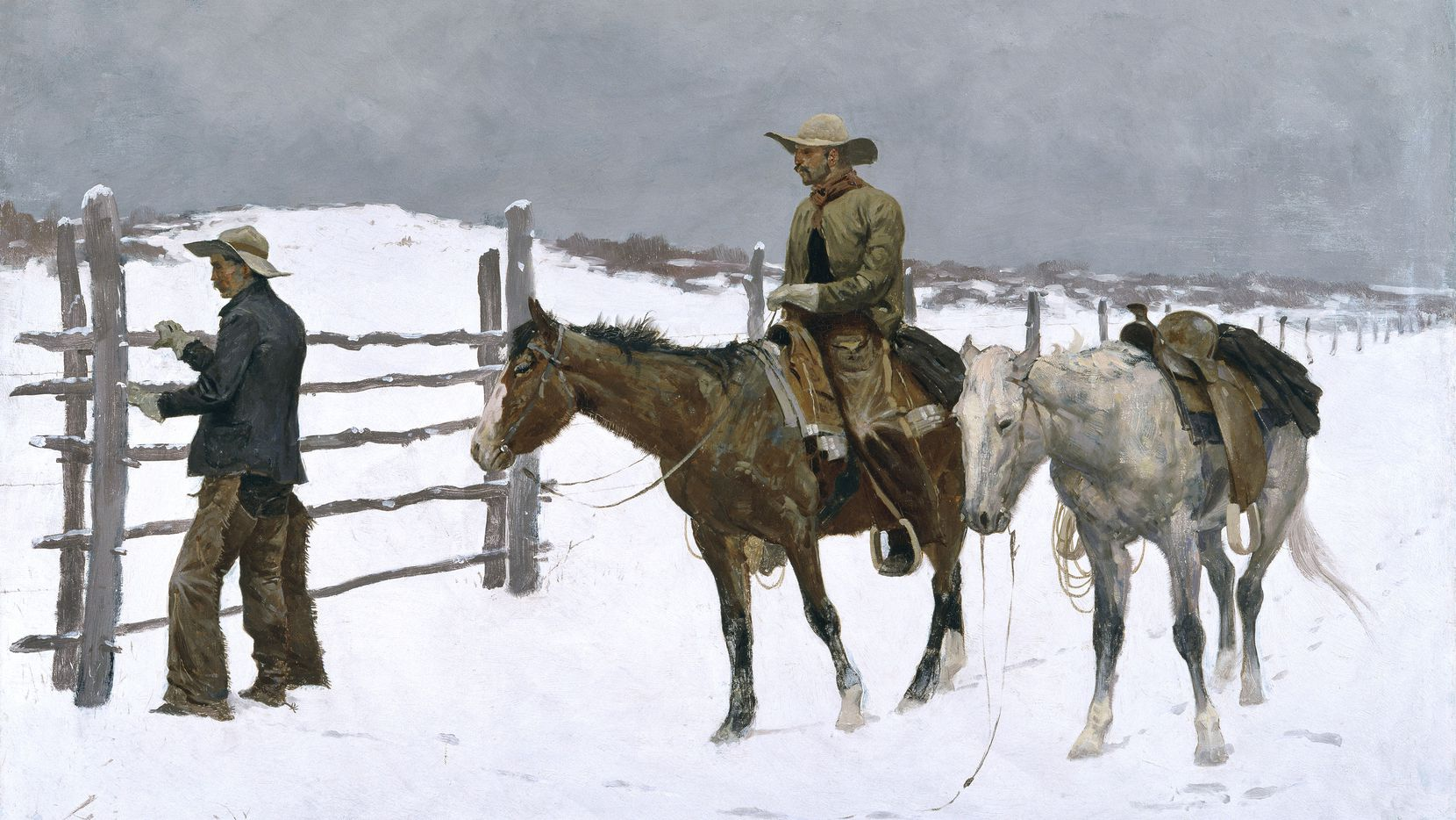 """The Fall of the Cowboy,"" an 1895 oil-on-canvas painting by Frederic Remington, is among the artist's many works depicting men in action on the Western plains."