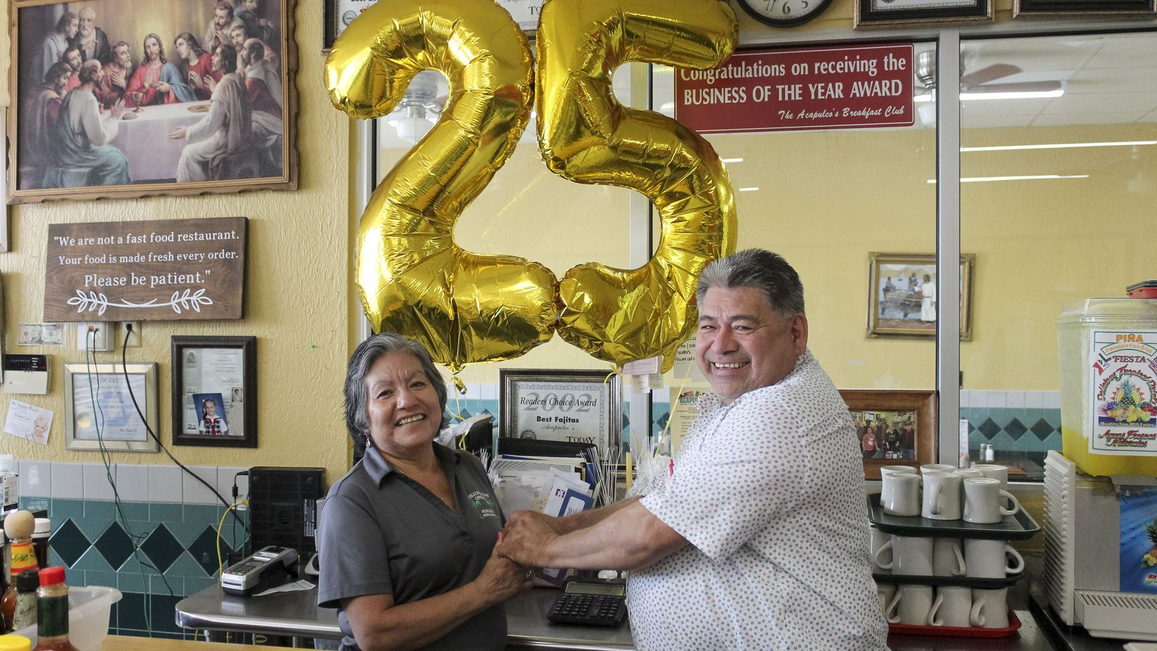 """Acalpulco's owner Refugio """"Cuco"""" Bahena (right) pictured with wife Maria Bahena at Acapulco's in DeSoto, Texas on Thursday, June 10, 2021."""