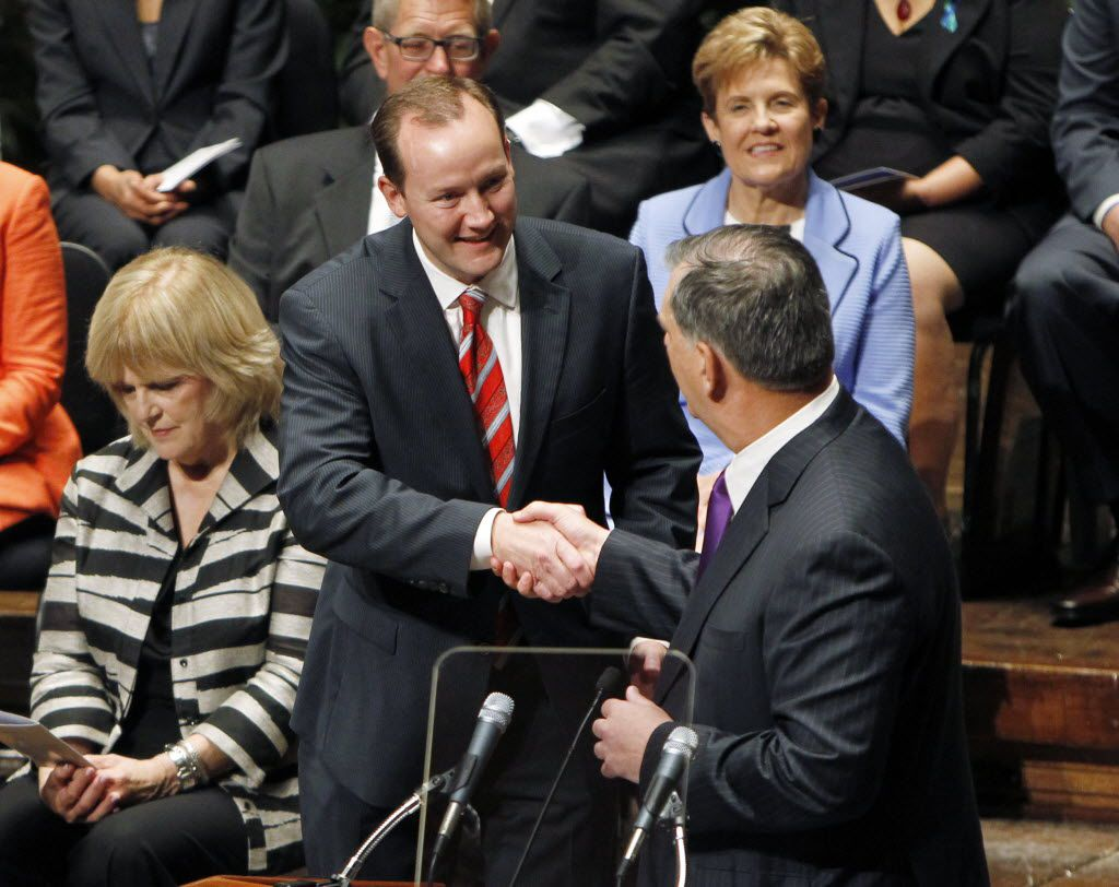 Newly elected Dallas City Council Member Philip Kingston, district 14, is congratulated by Dallas Mayor Mike Rawlings during the Inaugural Ceremony of the Dallas City Council at the Morton H. Meyerson Symphony Center in Dallas on June 24, 2013. (Sonya Hebert-Schwartz/The Dallas Morning News)