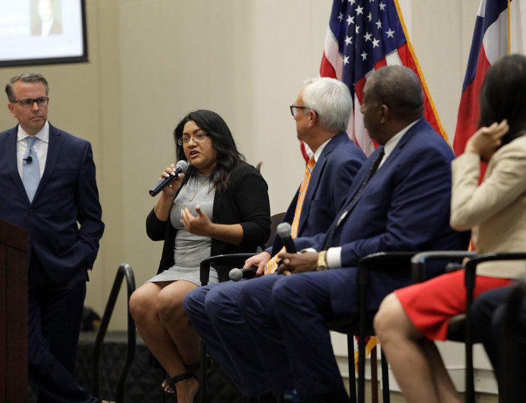 Sema Hernandez speaks during a Democratic Senate candidate debate at the Collin College Preston Ridge Campus in Frisco, TX, on Sep. 5, 2019.