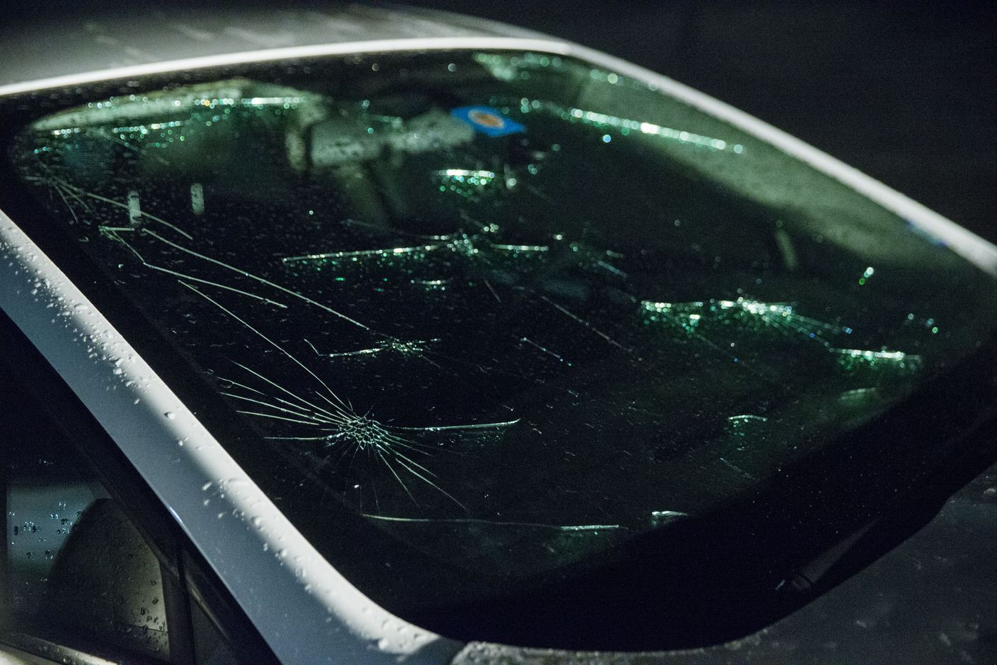 A hail damaged vehicle at The Villages at Willow Bay, near Eldorado and Independence parkways in Frisco, Texas on Sunday, March 24, 2019. A severe thunderstorm dropped massive amounts of hail as it swept through Collin County early Sunday evening, leaving the ground covered snow-white in some areas and many residents tending to damaged vehicles.