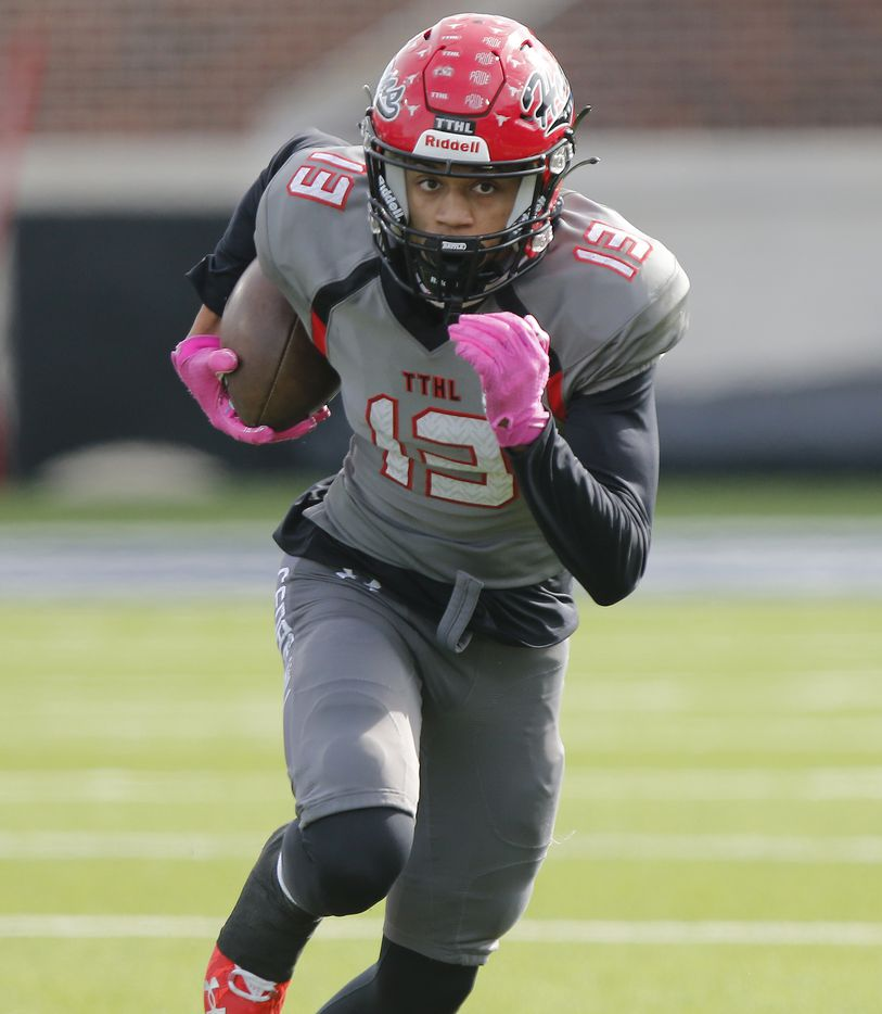 Cedar Hill High School wide receiver Javien Clemmer (13) makes a run for extra yardage after the catch during the first half as Denton Guyer High School played Cedar Hill High School in the Class 6A Division II, state semifinal at McKinney ISD Stadium in McKinney on Saturday, January 9, 2021.  (Stewart F. House/Special Contributor)