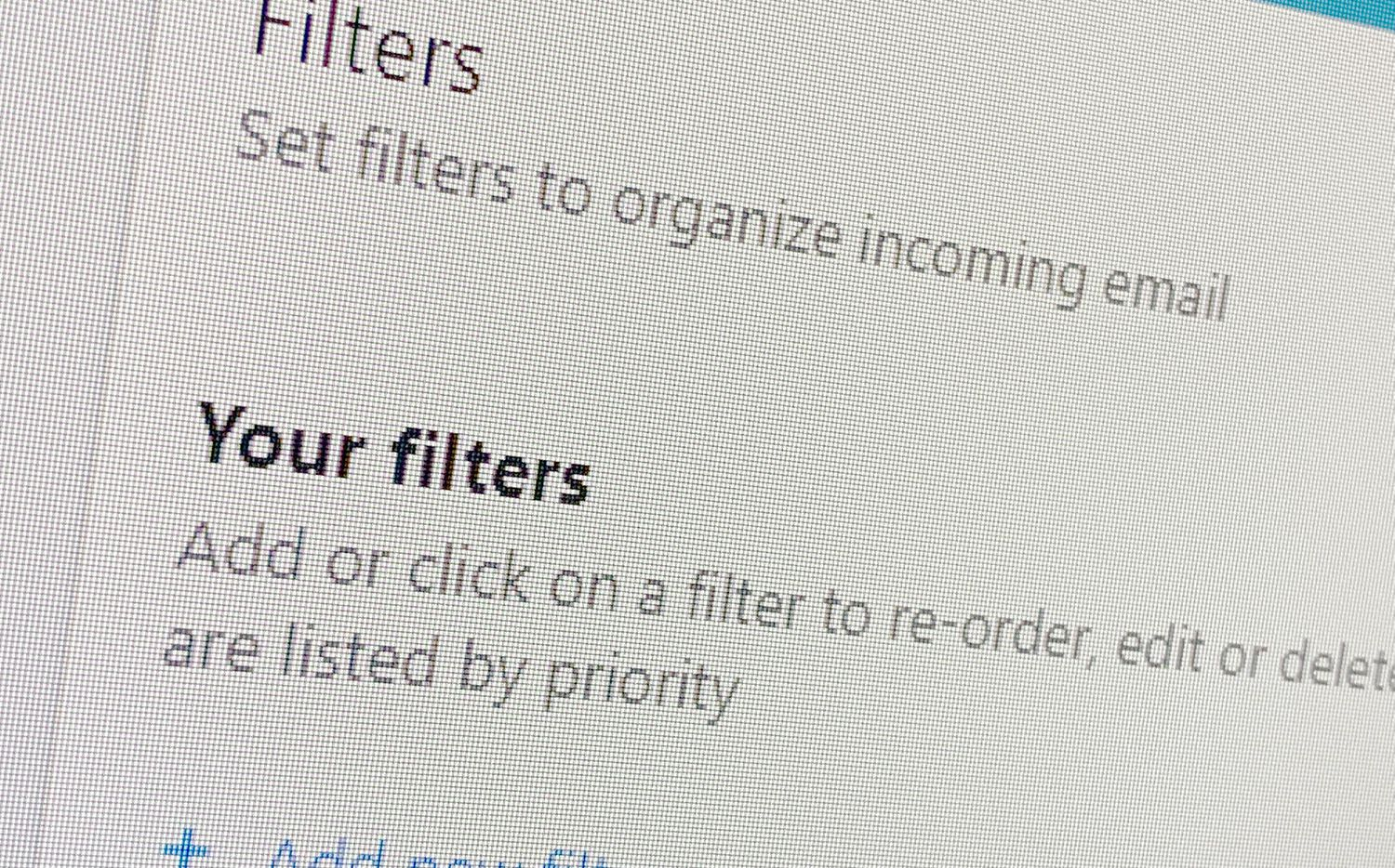 The filter settings in Yahoo Mail.
