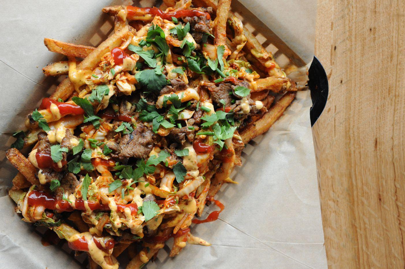 Bulgogi kimchi fries are served at Spork in Far North Dallas, TX on March 15, 2015. (Alexandra Olivia/ Special Contributor)