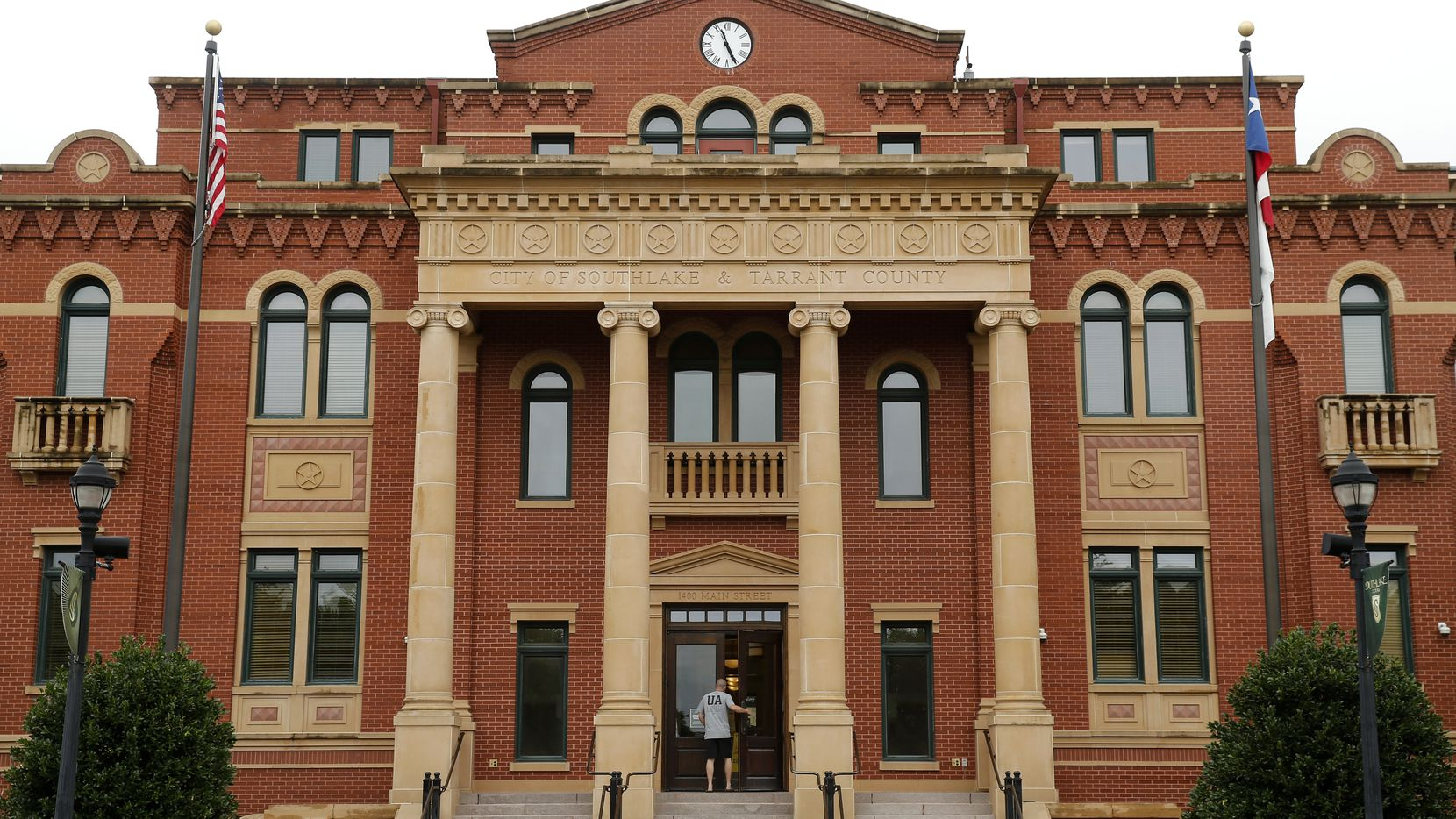 An exterior view of Southlake Town Hall and Tarrant County Sub Courthouse in Southlake Town Square, Tuesday, June 23, 2020.