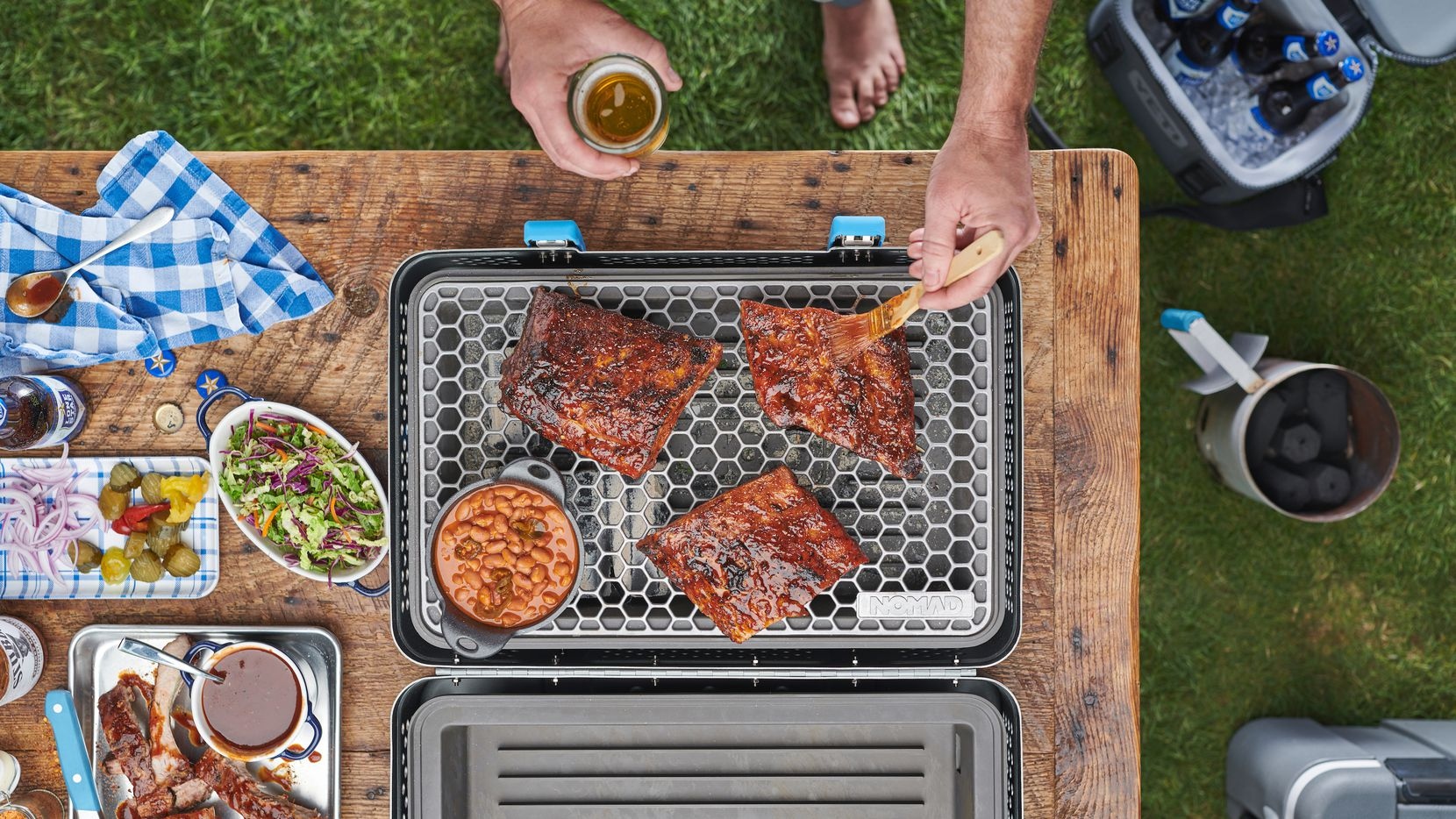 Nomad Grills is a portable charcoal grill and smoker from Dallas entrepreneurs.