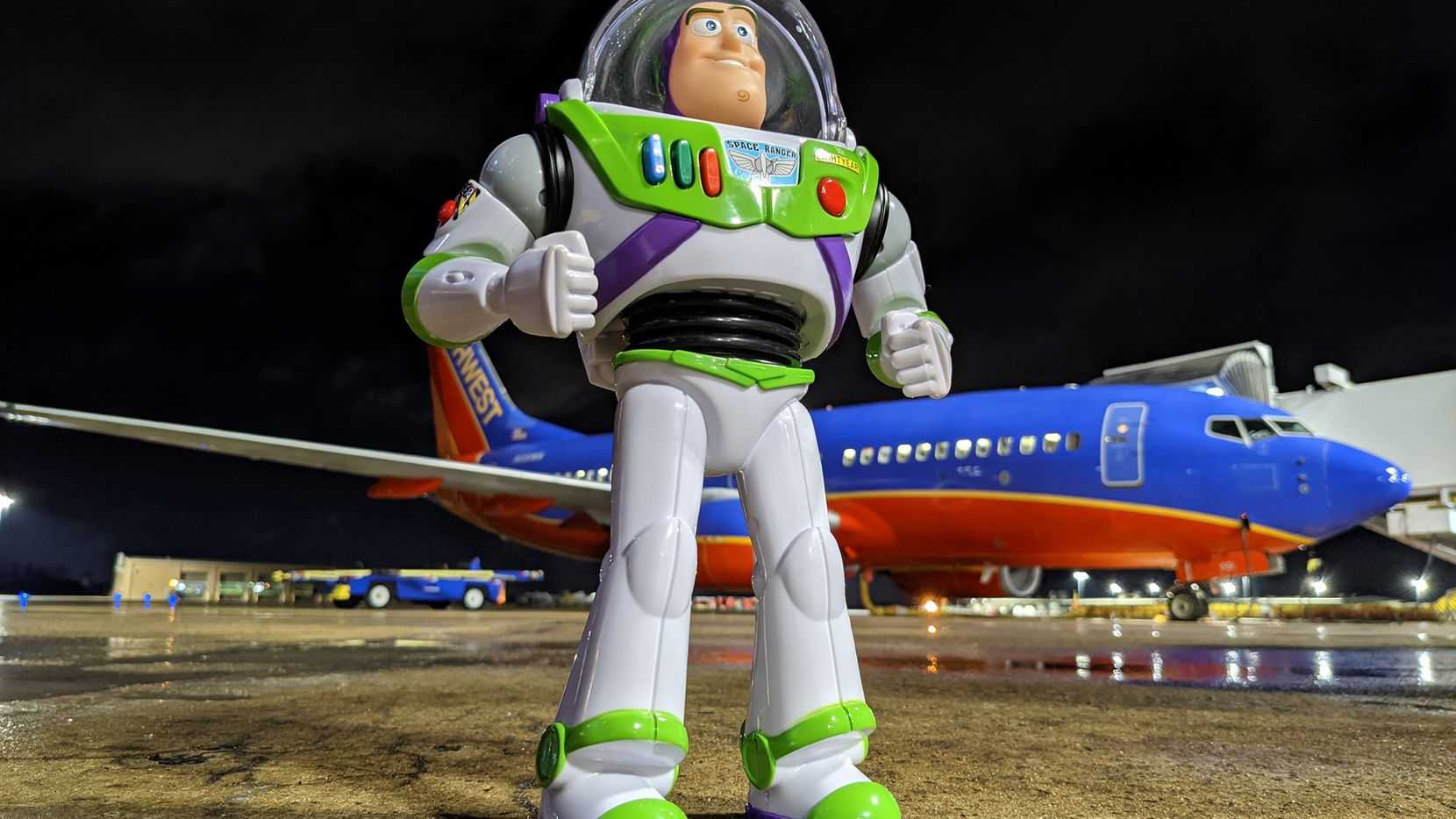 A Buzz Lightyear action figure that Southwest Airlines ramp workers found in Little Rock, Ark. They found the toy's owner, Hagen Davis, and returned it to him with pictures of Buzz at the airport and a handwritten message from the space ranger.