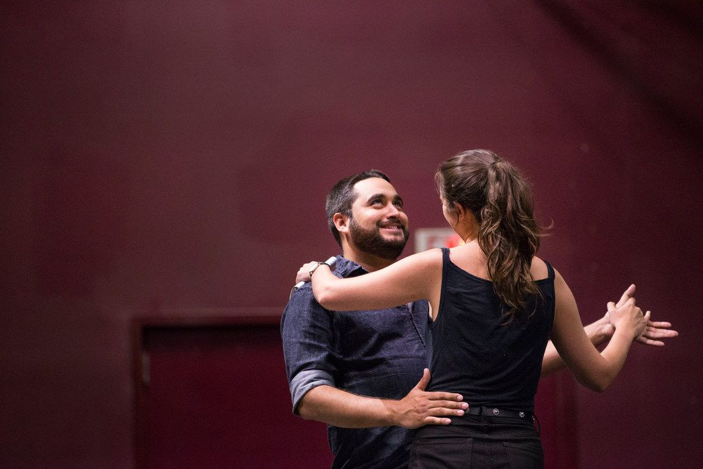 Ruben Carrazana and Dani Nelson rehearse a scene from Lungs.