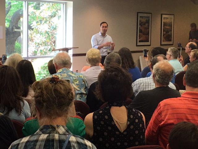 Rep. Joaquin Castro, D-San Antonio, talks to a crowd at the Lakewood United Methodist Church in Dallas.