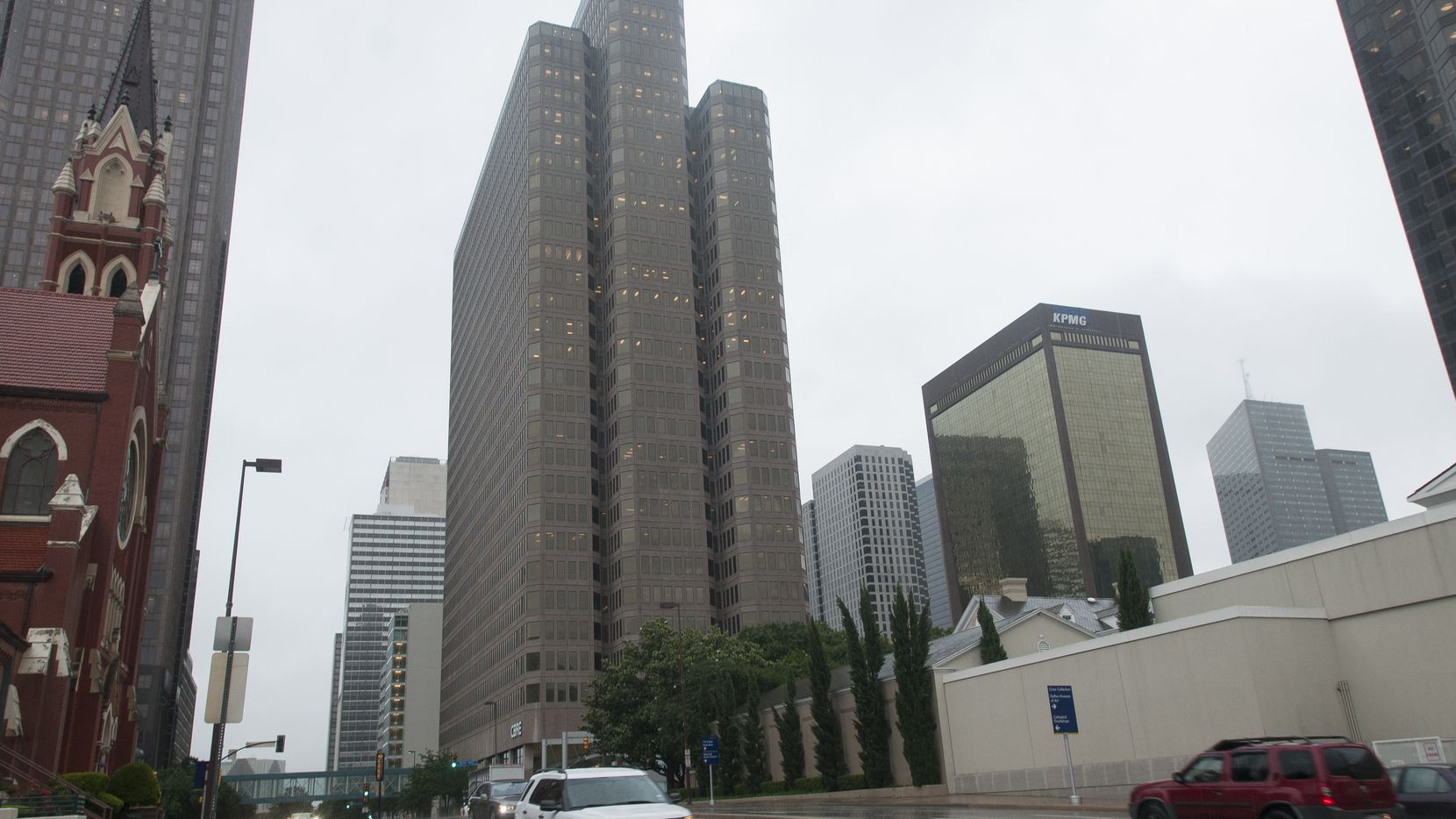 The 2100 Ross Avenue tower is on the north side of downtown Dallas.