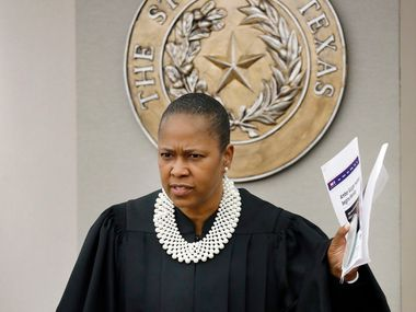 Judge Tammy Kemp is visibly upset about the defense presentation of evidence that Dallas County District Attorney John Creuzot gave an interview about the trial when a gag order was in place. The interview aired last night. Fired Dallas police Officer Amber Guyger is facing a murder charge in the 204th District Court at the Frank Crowley Courts Building in Dallas, Monday, September 23, 2019.