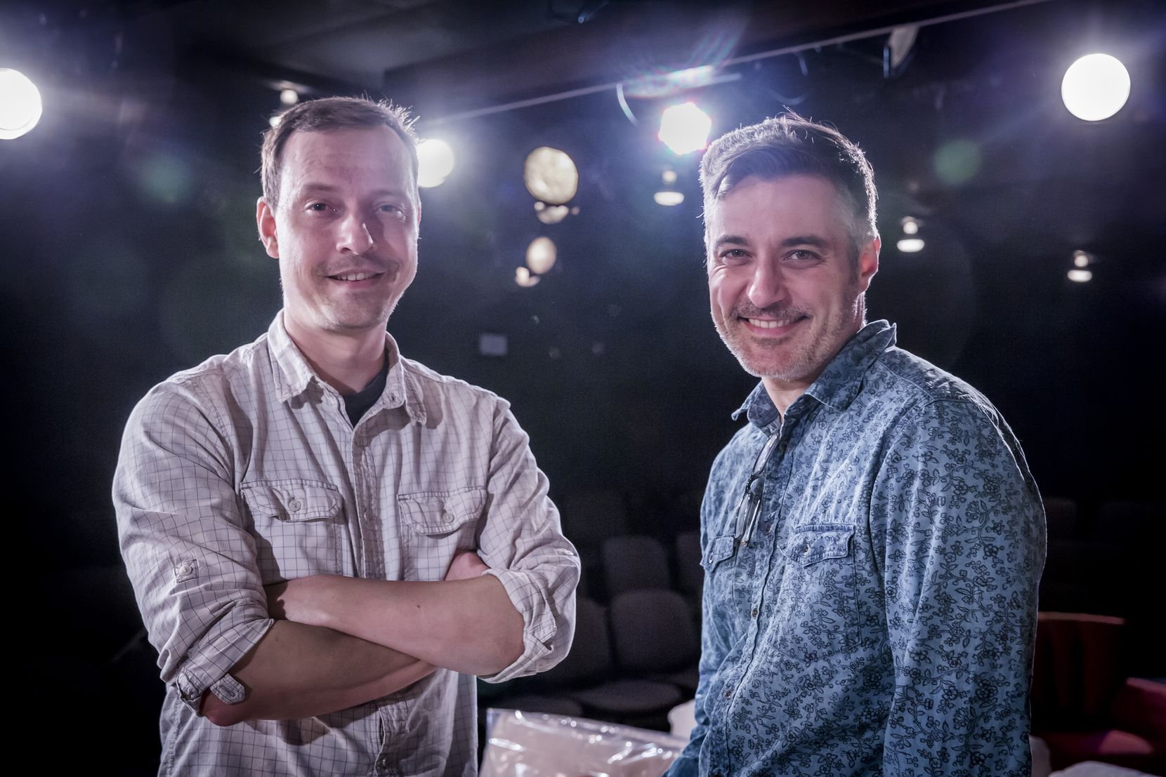 Dallas playwright Matt Lyle, left, and Jeffrey Schmidt, artistic director of Theatre Three in 2017.