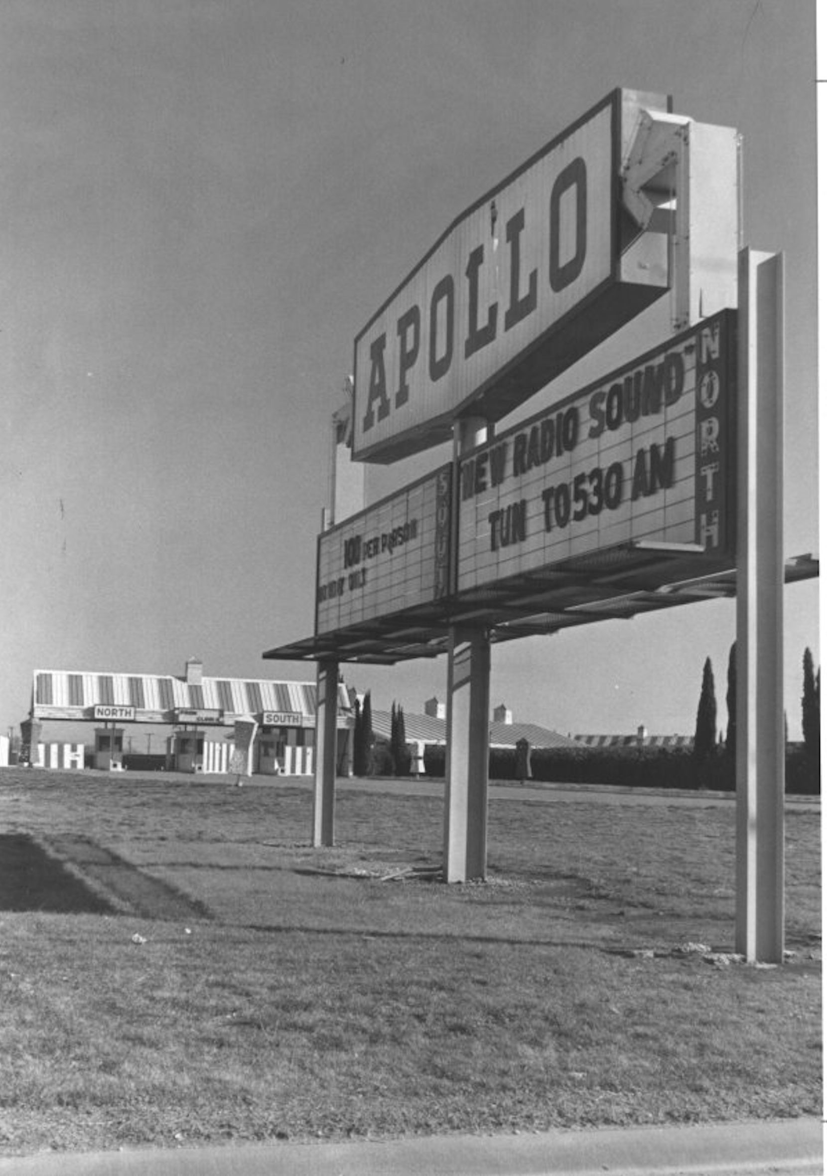 The Apollo Drive-In Theatre, demolished in 1986 to clear room for the big-box superstore Hypermart, is seen here circa 1970.