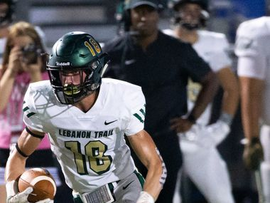 Lebanon Trail wide receiver Drew Donley (18) runs a pass during the football game between Lebanon Trail High School and Lovejoy High School at Leopard Stadium in Lucas, Texas, on Friday, Oct. 4, 2019. (Lynda M. Gonzalez/The Dallas Morning News)